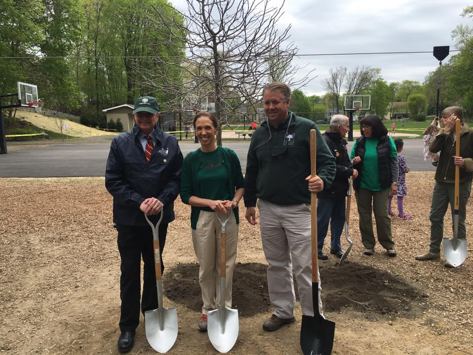 Assemblywoman Amy Paulin helped plant a tree in Scarsdale's Hyatt Park on Arbor Day.