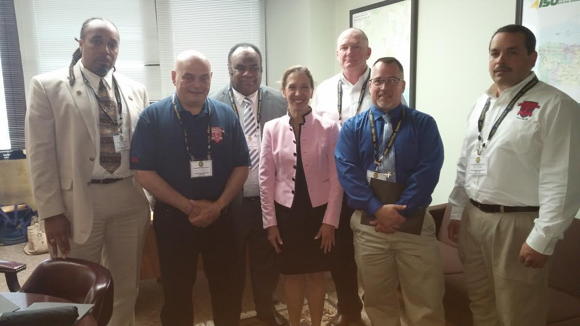 Assemblywoman Amy Paulin met with New York State Corrections Officer Police Benevolent Association officials in Albany to discuss my veteran's pension and military leave bills.
