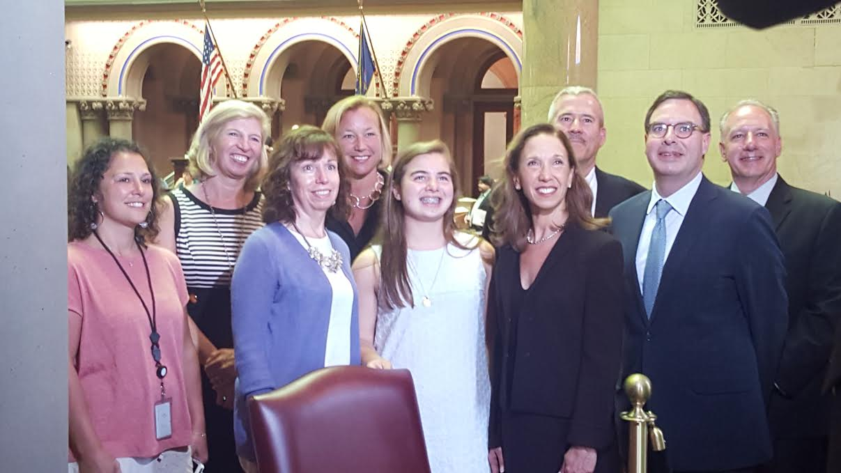"Pelham's Sarah Jane O'Connor came and visited Assemblywoman Amy Paulin in Albany on June 6. O'Connor was the winner of Paulin's ""There Ought To Be A Law"" contest."