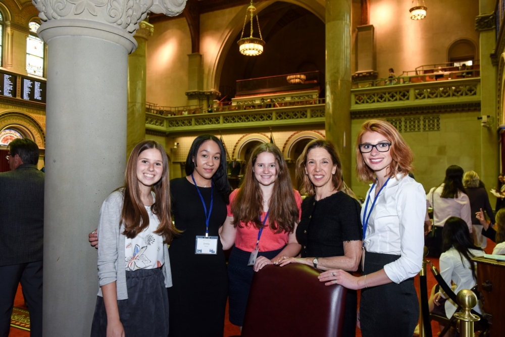 Assemblywoman Amy Paulin recently hosted a quartet of students from the 88th District when they visited Albany as part of Students Inside Albany, a program sponsored by the League of Women Voters. The students are, from left to right, Chloe Suzman [Scarsdale], Emely Munroe [New Rochelle], Zoe Ewing [Scarsdale] and Jennifer Tommasino [Bronxville].