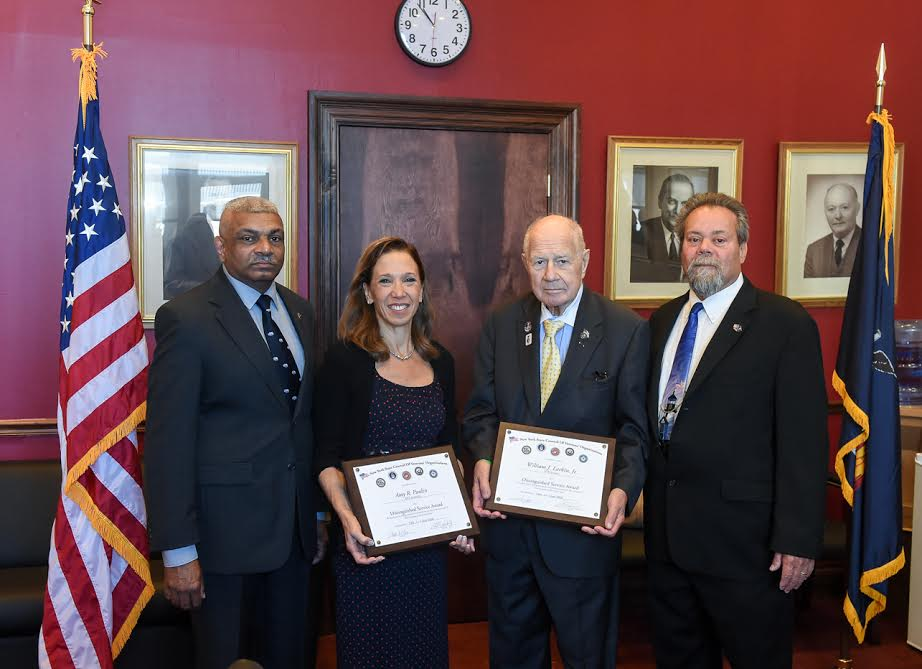 Assemblywoman Amy Paulin was presented with awards from the NYS Veterans Council and the PEF Veteran's Council for her work on the veteran's pension bill.