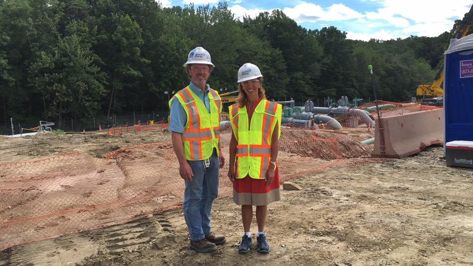 Assemblywoman Amy Paulin, who is the New York State Energy Committee Chair, toured the Spectra natural gas compression site in Southeast on Aug. 17.Here she is in front of the suction and discharge piping with project manager Bill Welch.<br />