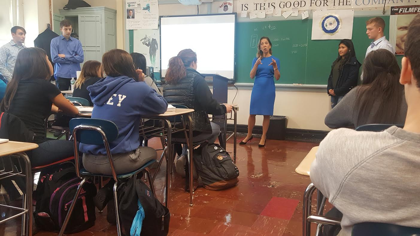 Assemblywoman Amy Paulin visited Eastchester High School and hosted a discussion in the government and economics class.<br />