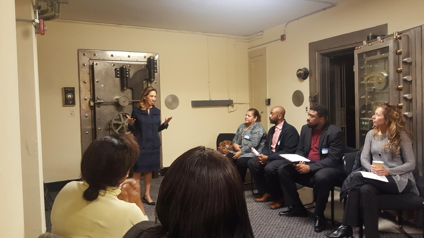 Assemblywoman Amy Paulin spoke at the Community Advisory Breakfast hosted by the Junior League of Bronxville. The breakfast took place at The People's United Bank and Paulin spoke in the vault about hunger, poverty and nutrition. <br />