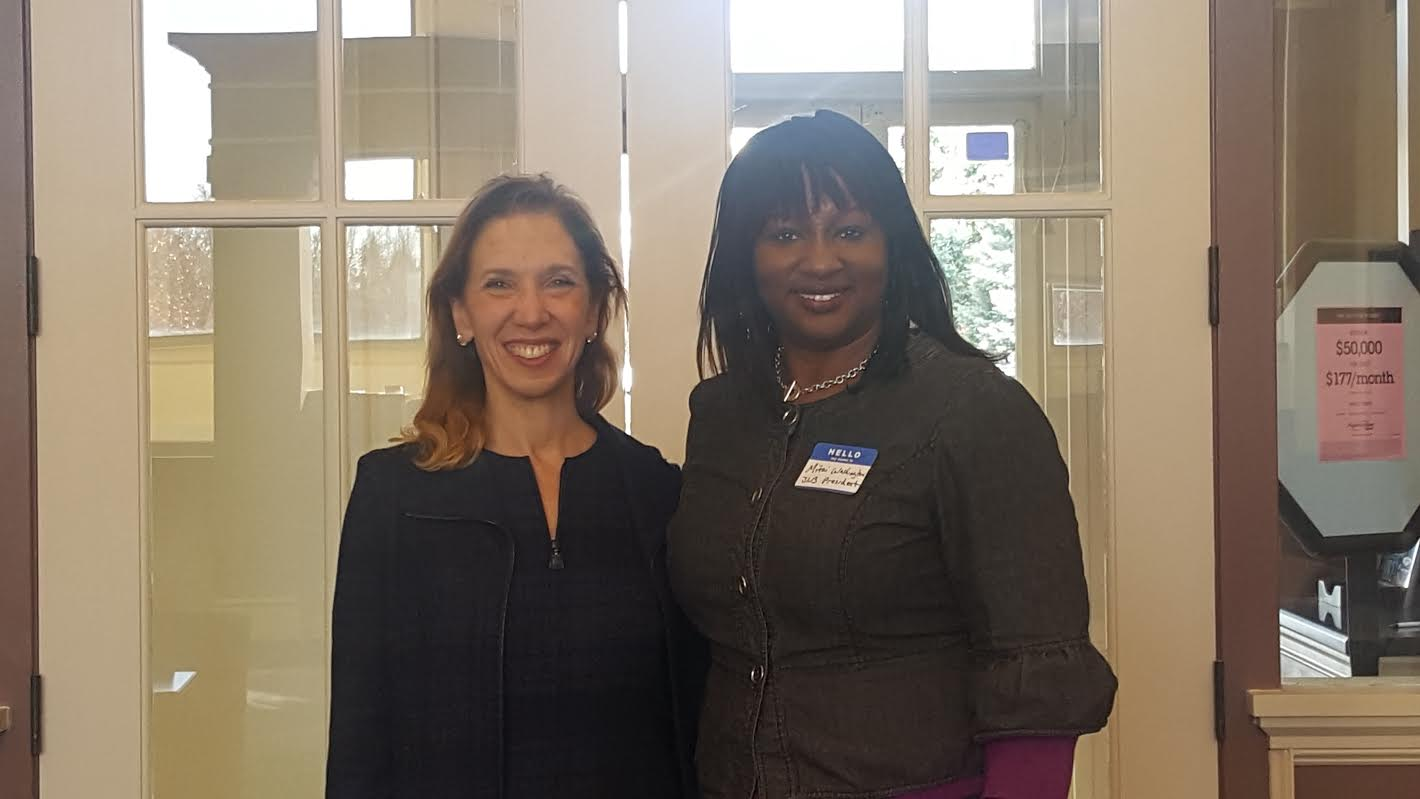 Assemblywoman Amy Paulin with Mitzi Washington, president of The Junior League of Bronxville, at the Community Advisory Board Breakfast.<br />