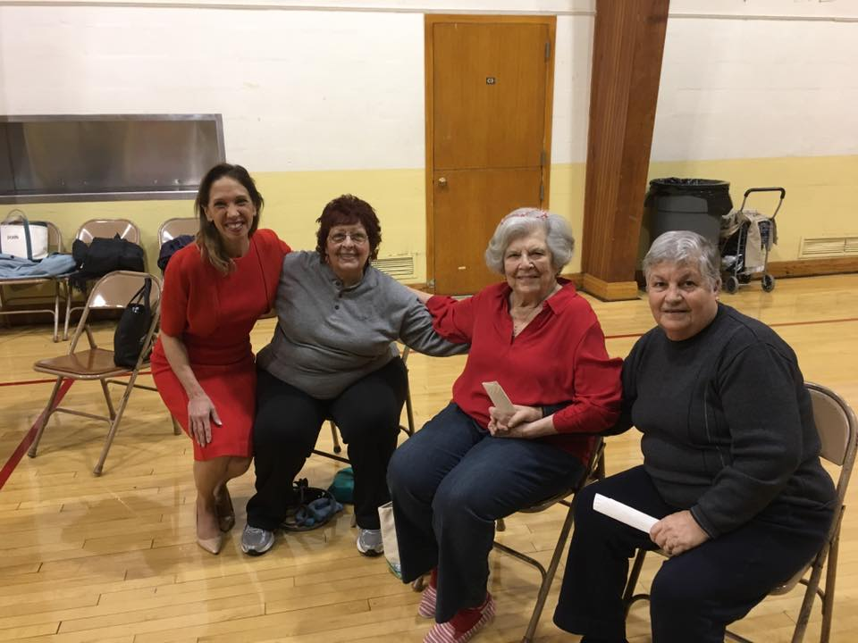 Assemblywoman Amy Paulin visited the Reformed Church of Bronxville and gave out holiday cookies to the seniors group. <br />