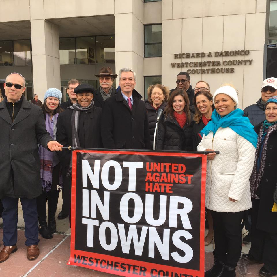 Assemblywoman Amy Paulin went to the United Against Hate rally. The rally was held in White Plains, next to the statue of Martin Luther King. Paulin was joined by White Plains mayor Tom Roach and many community activists. <br />