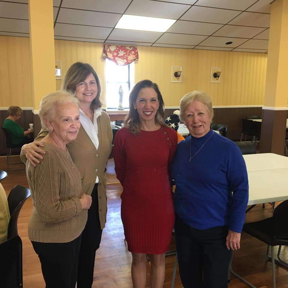 Assemblywoman Amy Paulin handed out holiday cookies at Father Fata Hall to the Tuckahoe Seniors group. <br />
