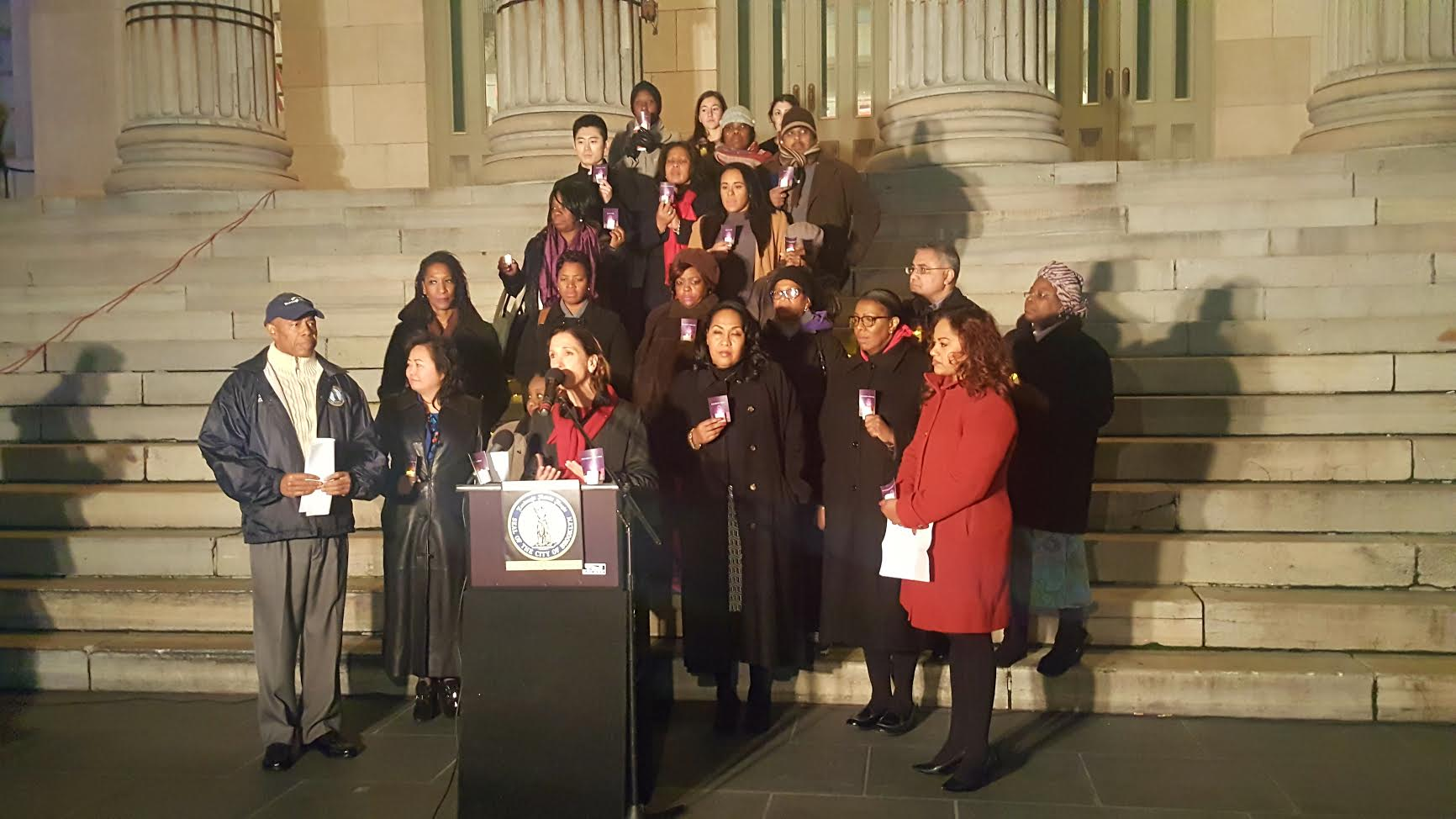 Assemblywoman Amy Paulin spoke at Brooklyn Borough Hall during the rally to mark the anniversary and re-authorization of the Violence Against Women Act. She joined Brooklyn Borough President Eric Adams, who organized the event.<br /> <br />