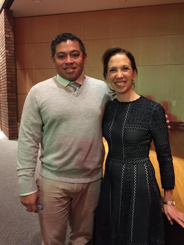 Assemblywoman Amy Paulin with New Rochelle boys soccer coach Jarohan Garcia following the ceremony honoring his state championship team. <br />