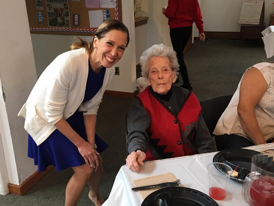 Assemblywoman Amy Paulin visited with old friend Jane Bedichek while giving out holiday cookies to the Scarsdale Seniors.<br />