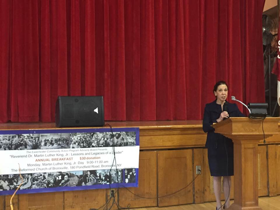 Assemblywoman Amy Paulin spoke at the annual Martin Luther King Breakfast at the Reformed Church of Bronxville.<br />