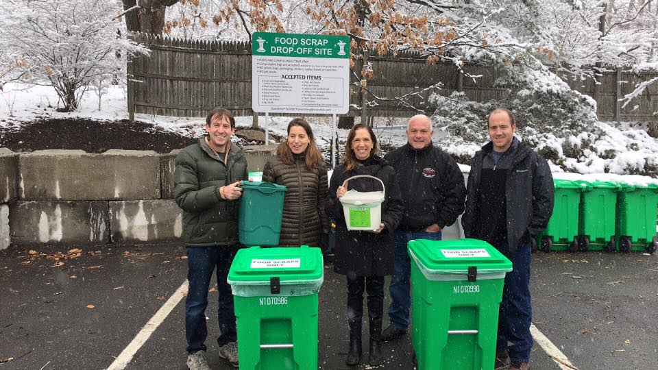 Assemblywoman Amy Paulin at the Scarsdale recycling yard for a discussion about and introduction to the Village's food scrap drop-off site.<br />