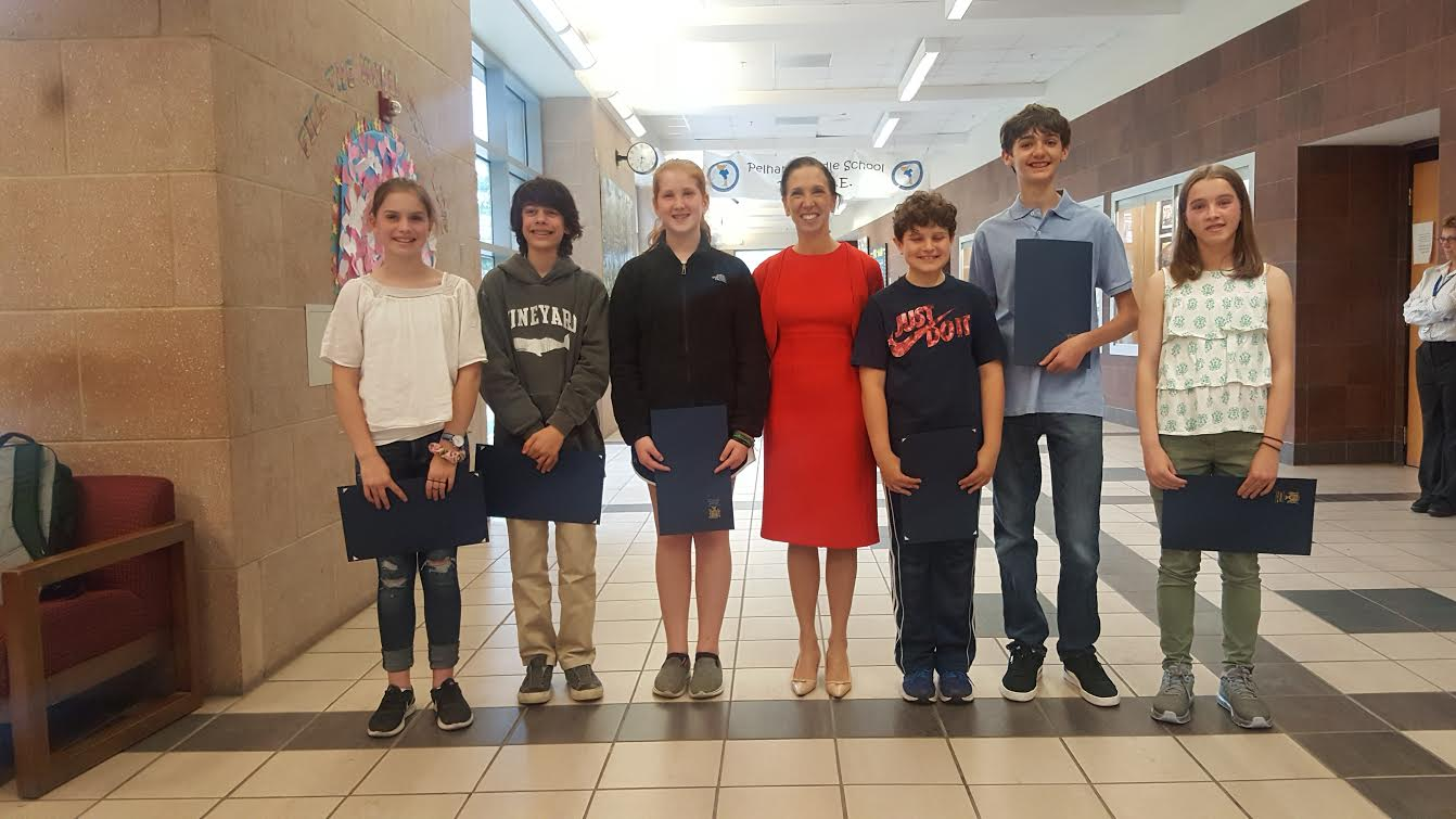 "Assemblywoman Amy Paulin recognized the Pelham Middle Schoolers who took top honors in her ""There Ought To Be A Law"" contest. With her from left to right are: Georgia Connelly, James Findikyan, Greta Fear, Mark Tarazi, Jakob Ferrara, Clare Aumer.<br />"