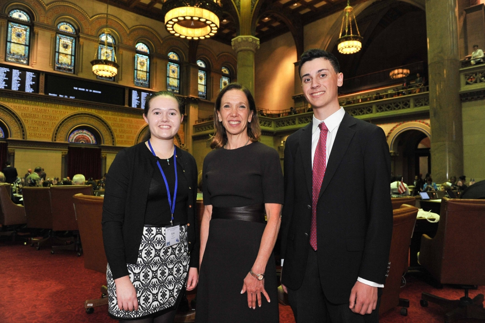 Scarsdale High juniors Katie Bowen and Daniel Karp recently joined Assemblywoman Amy Paulin in Albany and shadowed her as part of Students Inside Albany, a program sponsored by The League of Women Voters of New York State Education Foundation, Inc.<br /><br /> <br />