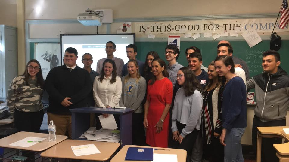 Assemblywoman Amy Paulin spoke to a class at Eastchester High School about state government, how it operates and her role in it.<br />