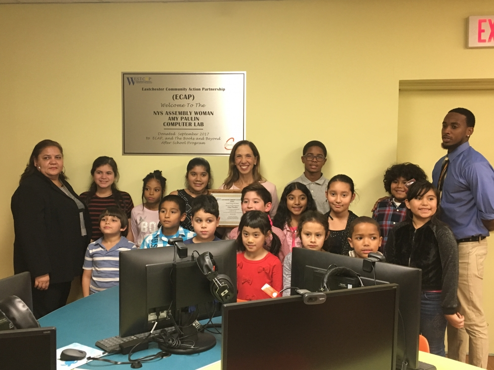 Assemblywoman Amy Paulin was at The Eastchester Community Action Partnership in Tuckahoe. She helped secure a grant so that ECAP could get a new computer lab.<br />&nbsp;