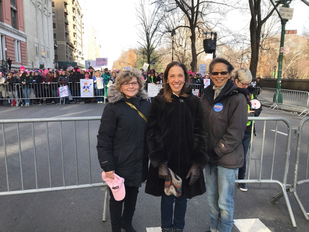 Assemblywoman Amy Paulin attended the 2018 Women's March in Manhattan with staff member Nancy Fisher and former staffer Susie Rush.