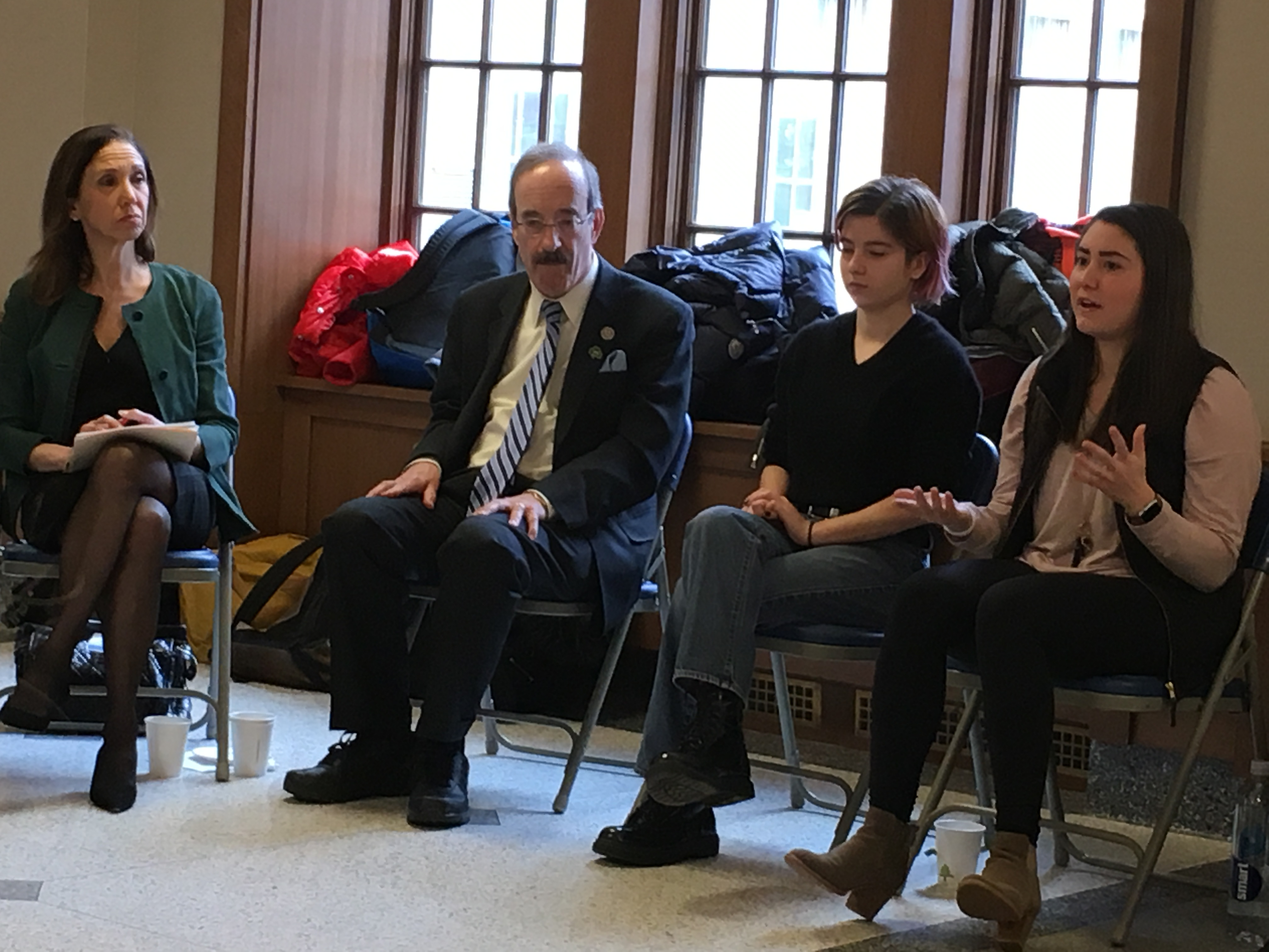 Assemblymember Amy Paulin joins Congressman Eliot Engel and Bronxville High School seniors in a conversation on gun violence and school safety on March 16, 2018.