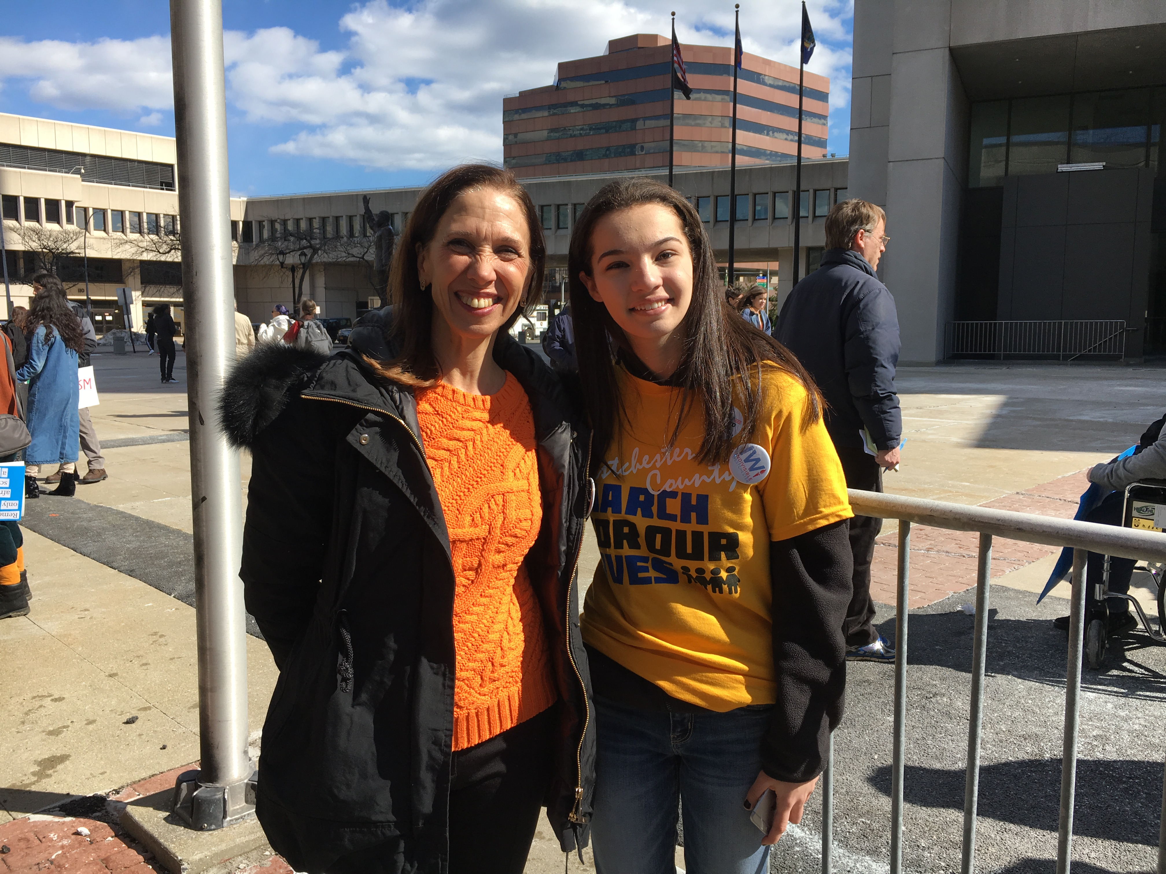 Assemblymember Amy Paulin with White Plains High School student Kelly Marx at the conclusion of the Westchester March for Our Lives in White Plains on March 24, 2018.  Kelly was one of the lead organi