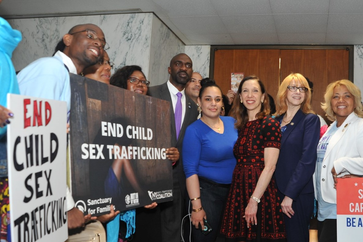 AAssemblymember Amy Paulin joins fellow legislators and anti-human trafficking advocates at a press conference in support of the End Child Sex Trafficking Act, of which she is the primary sponsor.<br /><br />&nbsp;