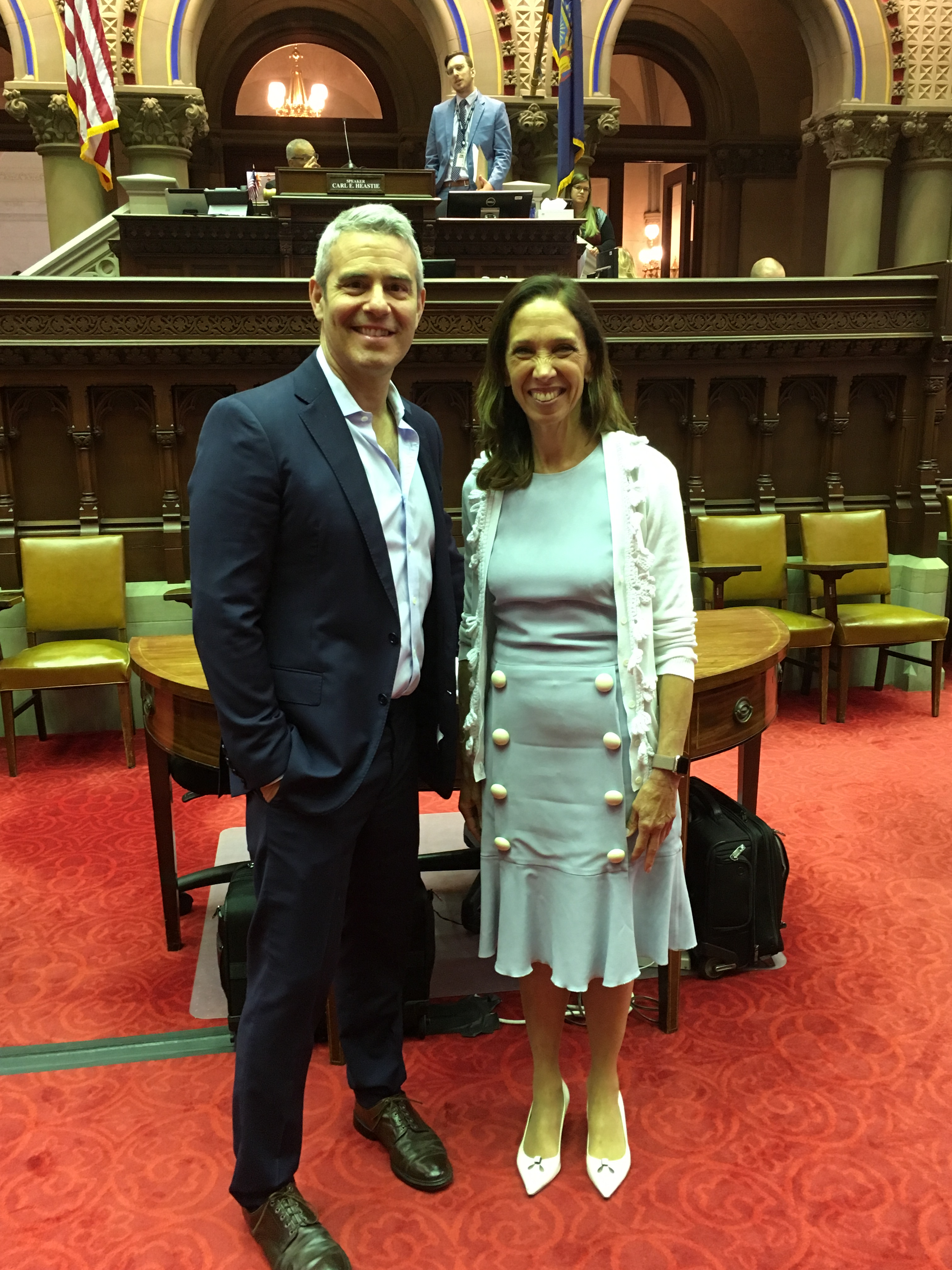 Amy Paulin meets with Bravo TV star Andy Cohen about his support for her bill, the Child Parent Security Act.