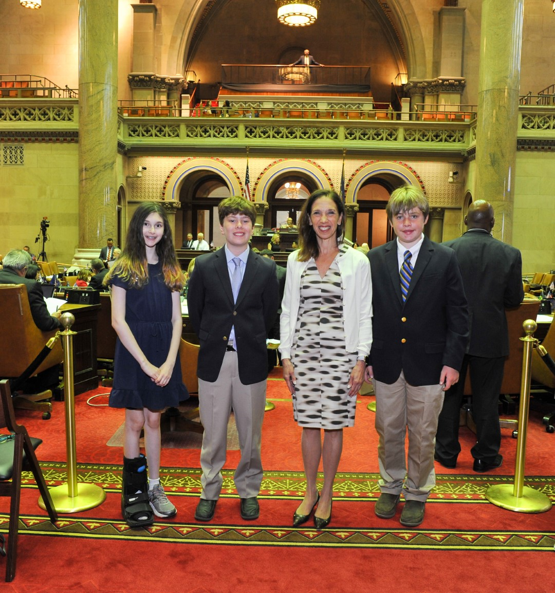 "Amy Paulin celebrates the winners of her ""There Ought to Be a Law"" essay contest for middle school students in the 88th Assembly District."