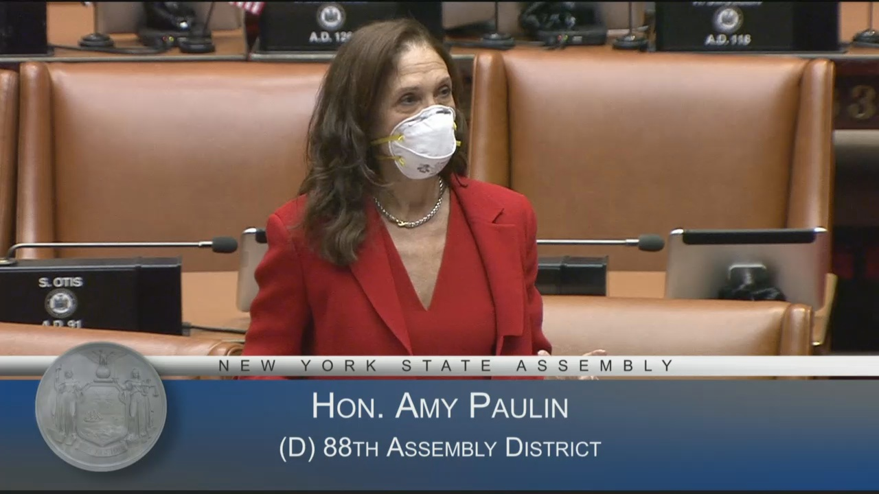 "Assemblymember Amy Paulin debates the ""Walking While Trans"" bill on the floor of the Assembly, leading to the bill's enactment into law that same day."
