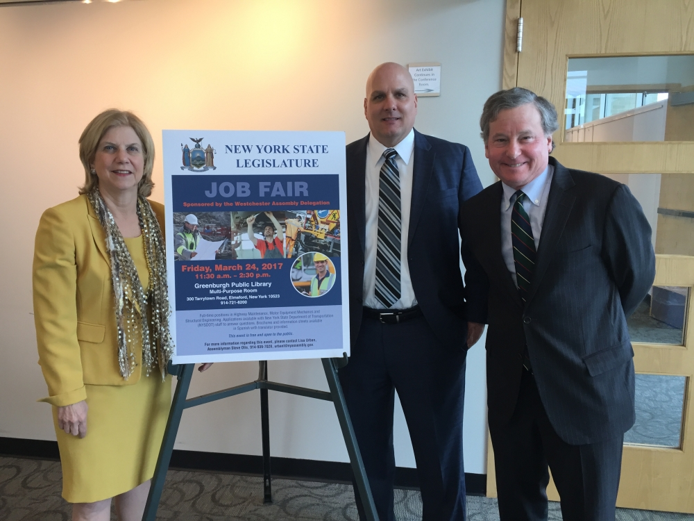 On March 24, 2017, the Westchester Assembly delegation sponsored a NYS Department of Transportation Job Fair at the Greenburgh Public Library. On hand to welcome prospective applicants were Assembly members Shelley Mayer and Steve Otis and Thomas McIntyre, Assistant Commissioner for Regional Operations at DOT. If you were unable to attend the job fair but wish to apply for a DOT position, please visit the Department&#39;s website at <a href=