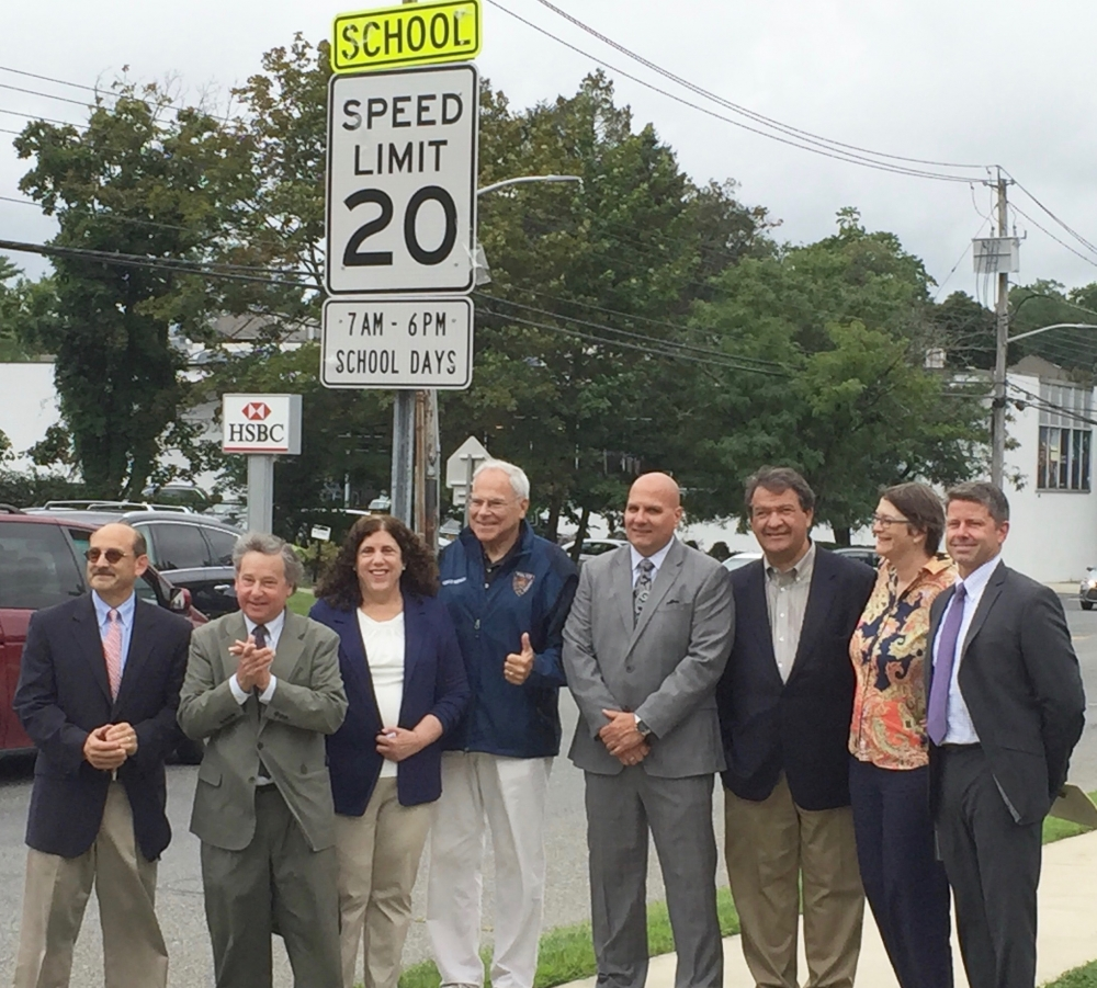 Gathering to announce new school traffic safety improvements in front of Mamaroneck High School are Superintendent of Mamaroneck Public Schools Dr. Robert Shaps, Assemblyman Steve Otis, Deputy Town Su