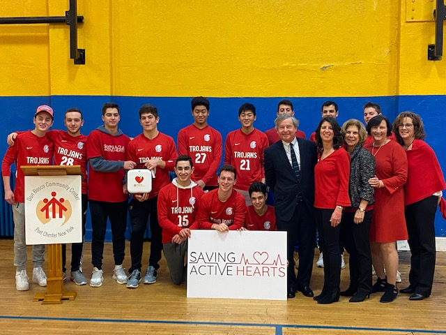Assemblyman Otis joins students from Blind Brook High School, parents and fellow legislators at the Saving Active Hearts awareness event on February 7th, 2020 at Don Bosco Community Center in Port Che