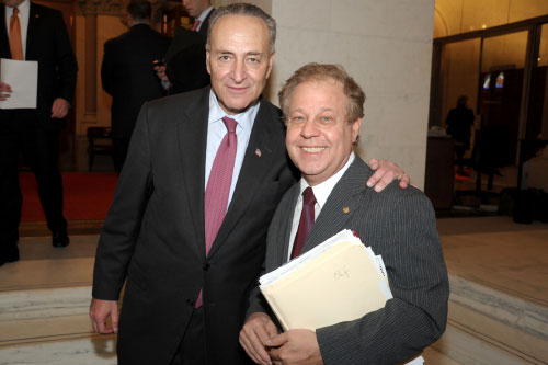 "Assemblyman Abinanti meeting with U.S. Senator Charles ""Chuck"" Schumer outside the Assembly Chamber. Assemblymember Abinanti formerly served as assembly staff when Schumer was with the NYS Assembly."