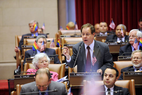 Assemblyman Abinanti debating during an Assembly session.