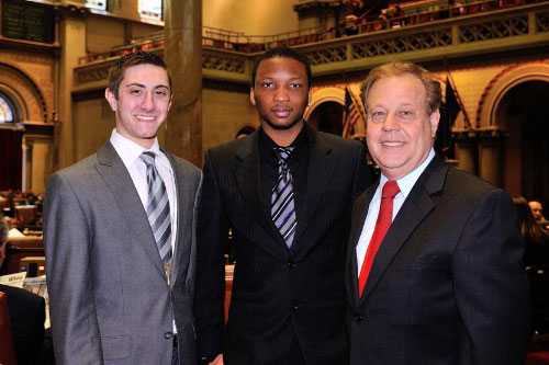 Assemblyman Abinanti with 2012 session Interns Tobi Atanda and Richard Stein.