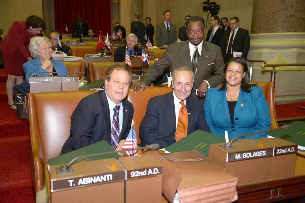 Assemblyman Abinanti with U.S. Senator Charles Schumer and other Assembly members as the Senator reminisced about his days in the New York State Assembly while sitting in his former Assembly seat.