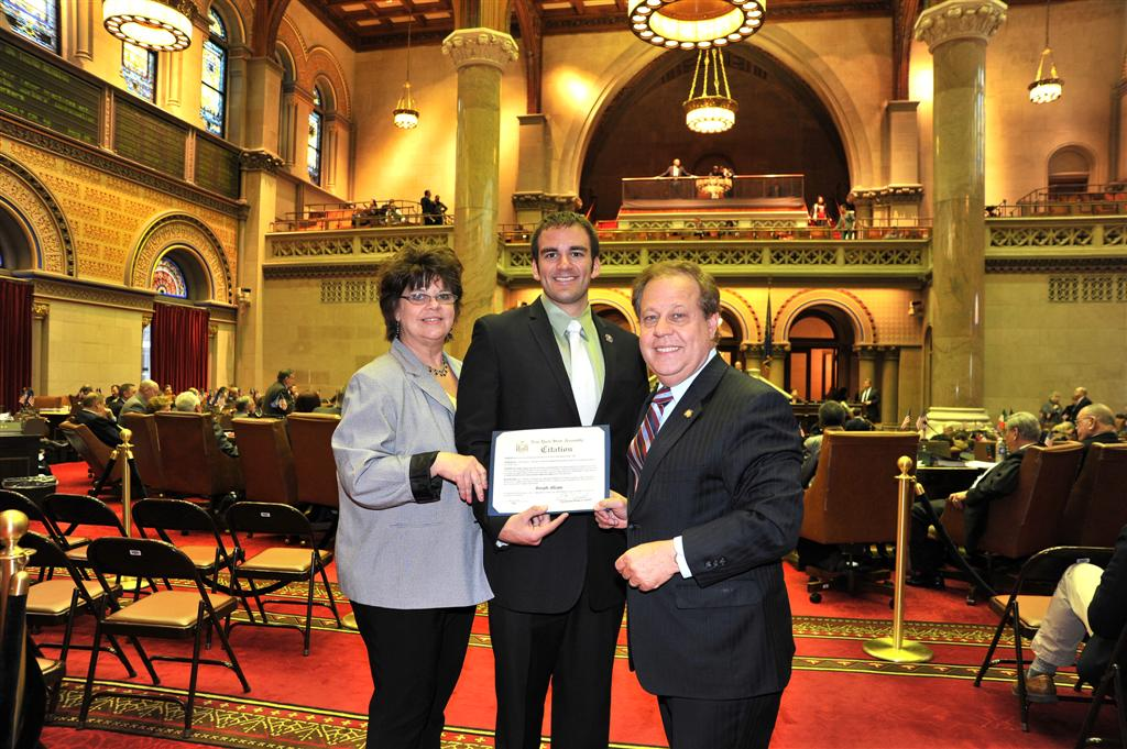 Assemblyman Abinanti presenting Joseph Alicata,  Press Assistant to the Assembylman a Citation for receiving the  State University of New York @ Albany President's Award,  along with  staff member,  Kathleen Conroy, L.D.