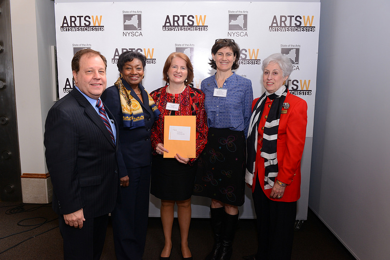 Assemblyman Tom Abinanti; Senator Andrea Stewart Cousins; Diana Lennon, Librarian, Greenburgh Public Library; Lisa Robb, Executive Director, New York State Council on the Arts; Jacqueline Walker, Board President, ArtsWestchester