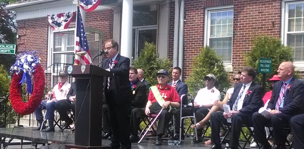 Assemblyman Abinanti speaking at the Memorial Day event in Elmsford.