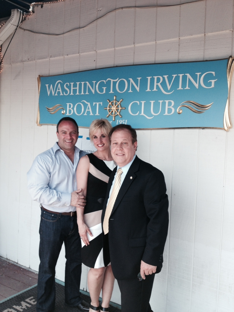 Assemblyman Abinanti with Tommy and Ann Calandrucci of the Sunset Cove restaurant at the Washington Irving Boat Club.