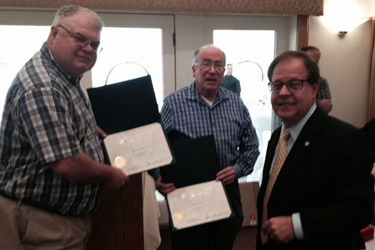 Valhalla Fire Citations: Assemblyman Abinanti presented Assembly citations to longtime Valhalla volunteer firemen Eben Turnure (40 years) and Steve Heller (50 years).