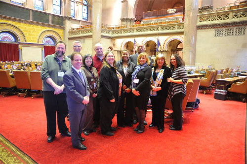 Assemblyman Abinanti and Assemblyman Gary Pretlow joined by Patricia Puleo, Joe McLaughlin, Jeff Yonkers, Florence McCue and other members of New York State United Teachers.