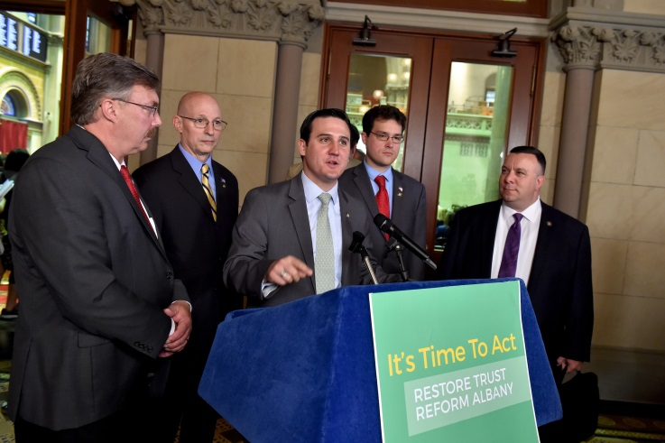 Assemblyman Kevin Byrne joined lawmakers in calling for ethics reform measures to be taken up before the conclusion of this year's legislative session at a press conference in Albany on Wednesday