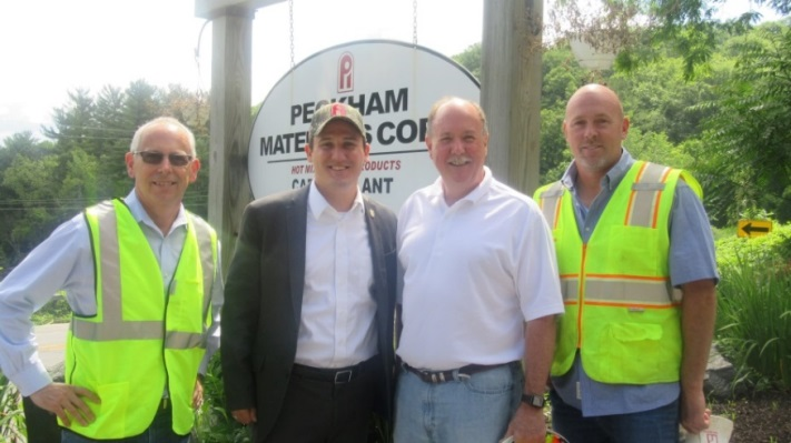 (Left to Right) Peckham Industries Vice President Gary W. Metcalf, Assemblyman Kevin Byrne (R,C,I,Ref-Mahopac), President John Peckham and Southern Division Assistant Vice President Jeff Belval  toure