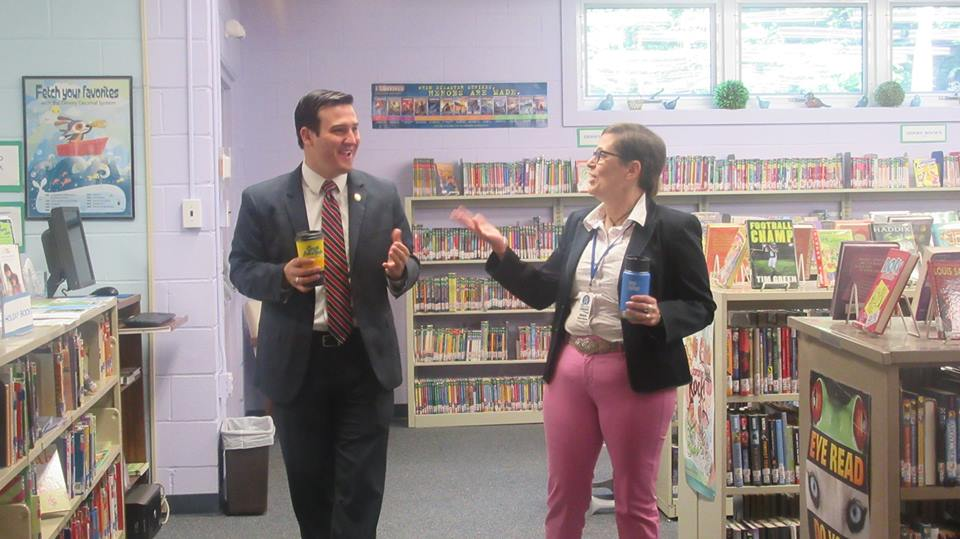 Assemblyman Kevin Byrne pictured speaking with Putnam Valley Library Director Marjorie Federici