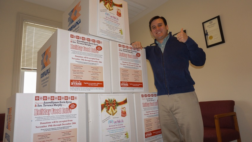 Assemblyman Kevin Byrne (pictured above) and Sen. Terrence Murphy collected five full boxes of non-perishable food items during their Holiday Food Drive last year. This year's drive runs from Nove