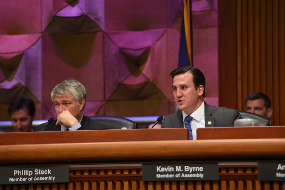 Assemblyman Kevin Byrne (R,C,Ref-Mahopac) attending the joint Assembly and Senate public health hearing on Tuesday, May 28.