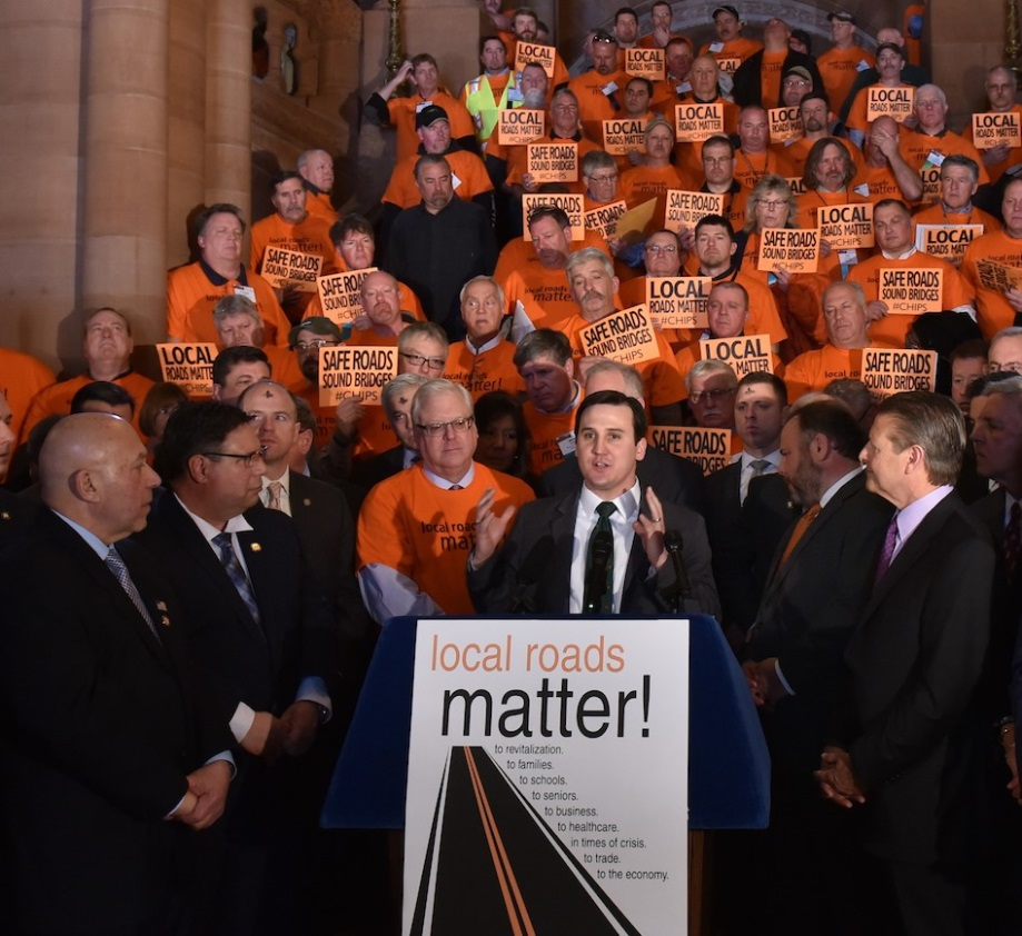 "Assemblyman Kevin Byrne (R,C,Ref-Mahopac) spoke at a ""Local Roads Matter"" rally on Wednesday, March 6."