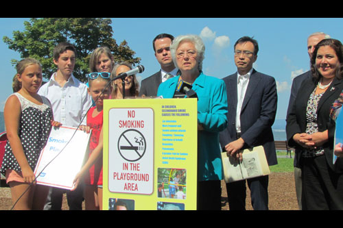 Sandy and Senator David Carlucci held a press conference to highlight legislation that would protect innocent children from exposure to secondhand smoke at playgrounds.