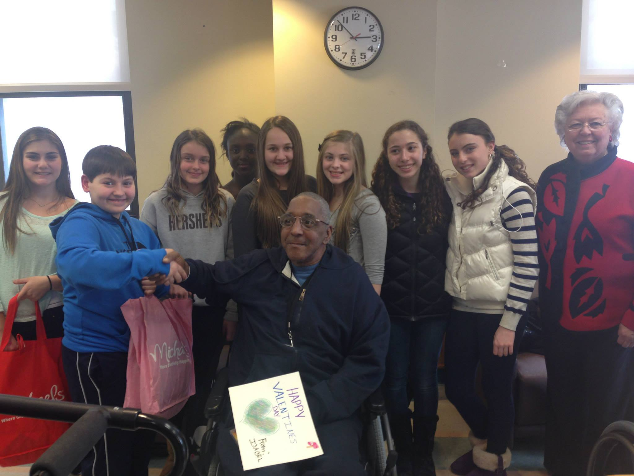 Sandy and middle school students from the Hendrick Hudson School District visited with veterans at the Veterans Affairs Medical Center in Montrose. They spoke with many veterans residing there and handed out belated Valentine's Day cards to thank the veterans for their service.