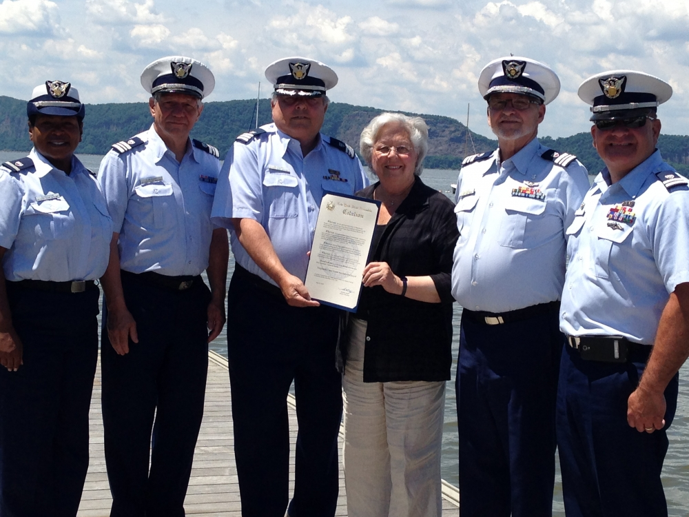 In honor of 75 years of service, Sandy presented members of the US Coast Guard Auxiliary with a special proclamation. The proclamation also acknowledged the Verplanck Flotilla for 15 years of outstanding service to Westchester and Putnam counties.